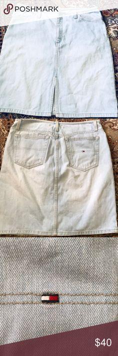 "Vintage Tommy Hilfiger Denim skirt Length 19.9""  waist about 17""  across  100% cotton Tommy Hilfiger Skirts Midi"