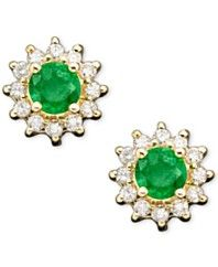 EFFY Emerald (1/2 ct. t.w.) and Diamond Accent Stud in 14k Gold