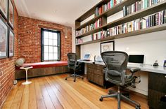 """For a relatively narrow space and small footprint, this office packs a punch, accommodates 2 and stores plenty.  Love the long wall of shallow shelves that you can line with books.  Also love the window """"seat"""" big and wide enough to sleep a guest if needed."""