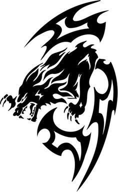 Tribal Animal Tattoos, Tribal Wolf Tattoo, Wolf Tattoos, Body Art Tattoos, Tattoo Drawings, Lobo Tribal, Tribal Art, Dragon Tattoo Sketch, Eagle Drawing