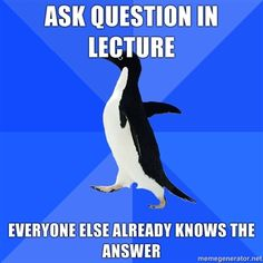 The reason I don't ask questions in lectures and classes.