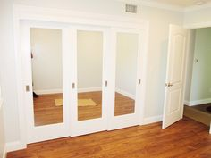 Do you need some closet doors but want to leave your floor trackless? Top hung doors like these white, 3-panel, 3-track Ovation Top Hung Closet Doors with mirrors installed in Pasadena, California might be the perfect fit for you! Call (866) 567-0400 or visit www.chiproducts.com to see all of your customization options!