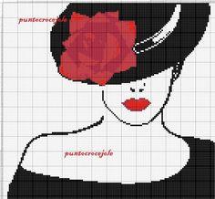 Sophisticated lady x-stitch Cross Stitching, Cross Stitch Embroidery, Hand Embroidery, Cross Stitch Designs, Cross Stitch Patterns, Beading Patterns, Embroidery Patterns, Cross Stitch Silhouette, Blackwork Patterns