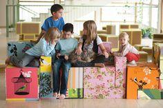 Cajas forradas estilo lego. Boxes for construction play.