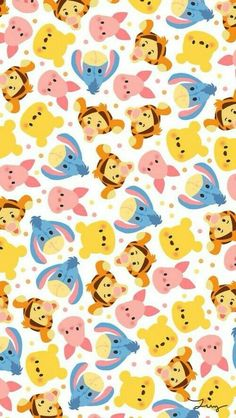 disney, tsum tsum, wallpaper, background, and pooh