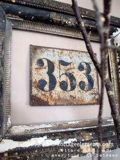 framed numbers... love it! By Cottage Elements showcased on Junk Market Style. This would be great to put the addresses of everywhere you lived before ... Memory evoking grouping!