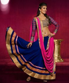 Buy Priyanka Chopra CrazeVilla Pink & NavyBlue Embellished Lehenga online in India at best price. This is a party wear fancy designer Georgette lehenga. This designer lehenga is beautifully crafted Lehenga Choli Designs, Ghagra Choli, Choli Dress, Priyanka Chopra, Bollywood Lehenga, Bollywood Fashion, Bollywood Style, Bollywood Party, Bollywood Wedding
