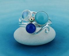 Silver Swirl Ring with Moonstone Amazonite and Blue by MaryColyer