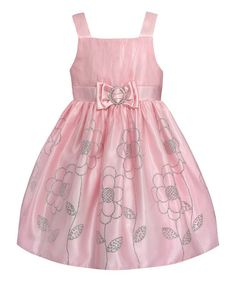 Another great find on #zulily! Pink & Silver Glitter Flower A-Line Dress -Toddler - Toddler #zulilyfinds