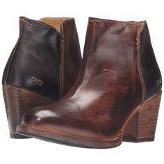 Bed Stu Yell (Teak Black Rustic Rust Leather) Women's Boots ($235) ❤ liked on Polyvore featuring shoes, boots, ankle boots, black bootie boots, short leather boots, black high heel boots, short black boots and black boots