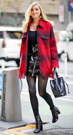 Elsa Hosk in a red plaid coat, black patent leather mini skirt, tights and booties - click through for more winter outfit ideas!