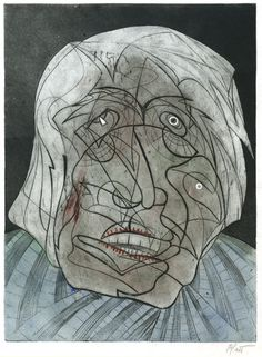 Philip D Platt Untitled Portrait Circa 1944 Hand Colored Engraving With Abstract ExpressionismModernismPrintmaking
