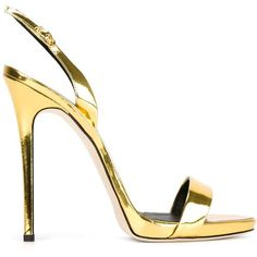 Giuseppe Zanotti Design slingback sandals (8 565 ZAR) ❤ liked on Polyvore featuring shoes, sandals, heels, sapatos, metallic, open toe sandals, heeled sandals, leather shoes, slingback shoes and leather sandals