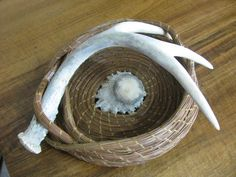 Pine Needle Deer Antler Basket with a Caribou Antler Button for the Center
