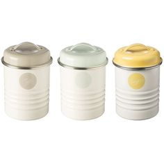 Typhoon Americana Vintage Tea Coffee and Sugar Canister Set featuring polyvore, home, kitchen & dining, food storage containers, sugar canister set, steel canister, tea storage canisters and tea canister