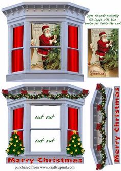 THROUGH THE BAY WINDOW 6 on Craftsuprint designed by Clive Couter - spy Santa loading the Christmas tree with presents in turn spied upon by a young child from behind the curtainSEE OTHERS IN THE SERIES BY ENTERING clives through the window cards IN THE SEARCH BOX - Now available for download!