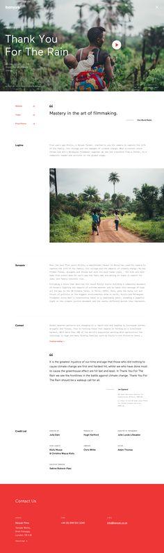 """Thank You For The Rain"" Banyak – Film & Documentary Production by Jaromir Kveton Web Design Agency, Ui Ux Design, Interface Design, Layout Design, Blog Layout, Website Layout, Website Header, Clean Websites, Mobile Web Design"