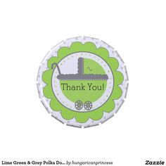 Lime Green & Grey Polka Dots-Baby Shower Favor Jelly Belly Candy Tin