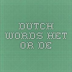 Dutch words - het or de