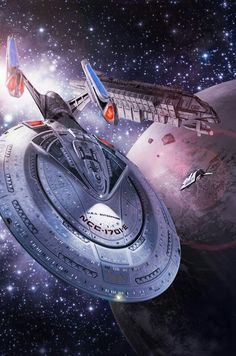 Starfleet ships - usscucuboth: Cover art (by Martin Frei) for the Star Trek novel 'Peaceable Kingdoms' (by Dayton -