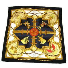Authentic Hermes Logos Big Scarf Handkerchief Silk 100 Black Vintage