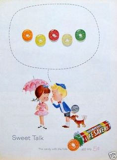 "1961 Vintage Print Ad Life Savers Five Flavor Candy ""Sweet Talk"" Buffalo Nickel"