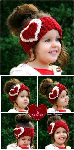 Lovely Crochet Kids Heart Head Warmer - 31 Free Crochet Patterns That You will in Love with | 101 Crochet