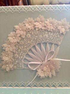 T T white work floral fan