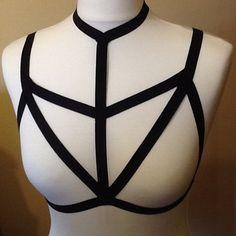 90's Girl Black Elastic Lingerie  Sexy  Body Harness Bodysuit For Party Dance d5 #Handmade