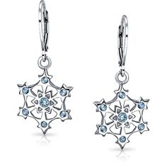 Bling Jewelry Silver Snowflake Simulated Blue Topaz Cz Leverback... (81 RON) ❤ liked on Polyvore featuring jewelry, earrings, blue, heart charm, christmas earrings, heart earrings, silver star earrings and long silver earrings