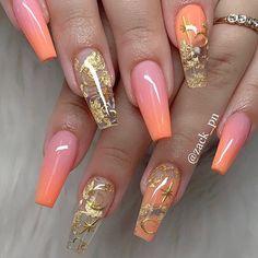 2019 Trendy and Creative Nail Designs to Try - Naija's Daily Creative Nail Designs, Beautiful Nail Designs, Creative Nails, Art Designs, Design Ideas, Best Acrylic Nails, Acrylic Nail Designs, Orange Acrylic Nails, Orange Nail Designs