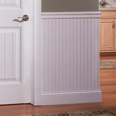White BeadBoard Panel 28 5 x 48 is part of Beadboard wainscoting 8 The planks are ideal for smaller jobs that may not require the use of a full sheet of beadboard but still require the height of - Beadboard Wainscoting, White Beadboard, Dining Room Wainscoting, Wainscoting Ideas, Wainscoting Panels, Bathroom Beadboard, Beige Bathroom, Bathroom Storage, Master Bathroom