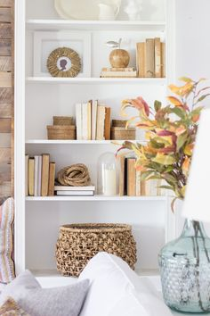 This post shared how I decorated my living room for fall using warm autumn colors of orange, golden tones of yellow, and rust on a backdrop of whites, creams and beiges. Today I'm excited to share week 3 in the Seasons of Home Series, our Fall Family Rooms! To catch up from the past weeks… …