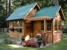 Looks a bit like ours! Wood House Design in Beautiful Garden Shed