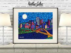 Pittsburgh Skyline City Folk Art Print Painting Heather Galler 11x14 SIGNED | eBay