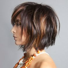 messy brunette bob with copper balayage
