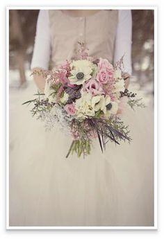 Fairy Forecast: winter wedding bouquet made of blush pinks, marshmellow whites and aubergine foliage
