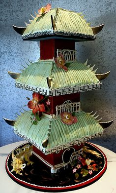 Asian Temple Cake www.tablescapesbydesign.com https://www.facebook.com/pages/Tablescapes-By-Design/129811416695