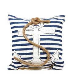 Navy #Nautical Stripe Anchor & Rope Pillow #uniquevintage
