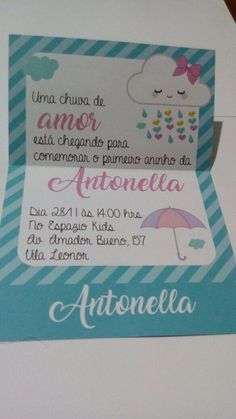 Convite Chuva de Bençãos 02 Baby Shower Unicornio, Rainbow First Birthday, Ideas Para Fiestas, Balloon Decorations, Baby Boy Shower, First Birthdays, Diy And Crafts, Balloons, Scrapbook
