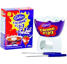 Cadbury Creme Egg Fondue set with chocolate and creme for dipping...um yes please!