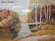 Осень - ошибана,картина из листьев,прессованная флористика,листья