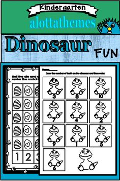 Math skills cover one to one correspondence, counting, before and after number identification, and writing numbers. You can use these printables as arrival/table time activities, center activities, small group instruction, and circle. These activities are designed for preschool, pre-k, or kindergarten.#alottathemes #dinosaurs#mathcenters Activity Centers, Literacy Centers, Number Identification, Build Math, Time Activities, Writing Numbers, Math Skills, Small Groups, Dinosaurs