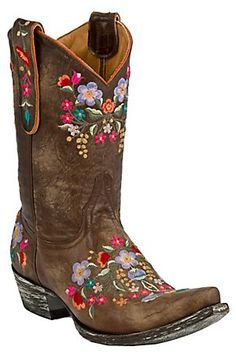 """Old Gringo Lds Sora 10"""" Tan Brown Multi Colored Embroidered Floral Snip Toe Boot"""