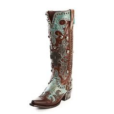 Double D Ranch Turquoise Ammunition Cowgirl Boot