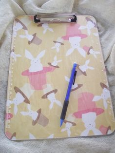 Clipboard Clear Lucite Fabric PInk Yellow Rabbits in by Pinoodles, $20.00