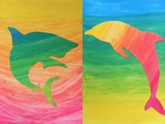 An interesting exercise on gradations has been made in classes of grade 8° by combining a background and a silhouette painted with gradations in complementary colors. First the students have painted two sheets with acrilyc paint in different gradations (one sheet from yellow to red and one sheet from yellow to blue). After a while, when the paint was dry, they cut out a silhouette from one of the sheets and used the other sheet as a background for the figure.