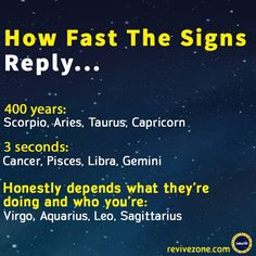 Zodiac: how fast the signs reply