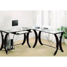 Coaster L-Shape Home Office Computer Desk, Cappuccino Finish Base, Glass Top #Decorlve #Computer #Desk