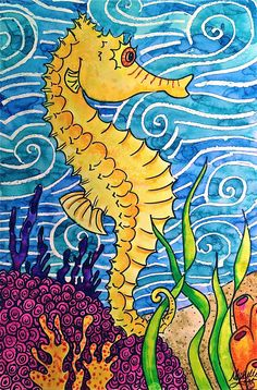 Seahorse Watercolor Painting Warm & Cool Colors